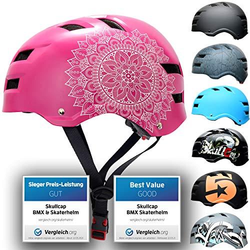 Skullcap® Skaterhelm Erwachsene Pink Pink Mandala - Fahrradhelm Damen ab 14 Jahre Größe 55-58 cm - Scoot and Ride Helmet Adult Pink - Skater Helm für BMX Inliner Fahrrad Skateboard