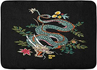 SZZWY Japanese Dragon Flowers Tattoo Patch Chinese Asian Black Floral Zodiac Background Pattern Flannel Indoor Floor Mat Bath Rugs Prevent Shifting and skidding Super Absorbent 3D Printing 60x40cm