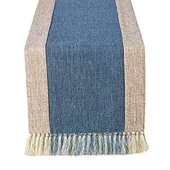 Chassic 15 x 72 inch Farmhouse Style Linen Table Runner with Handmade Fringed Rustic Burlap Wide Table Runners 72 Inches Long for Dining Room Dresser Decor - Blue