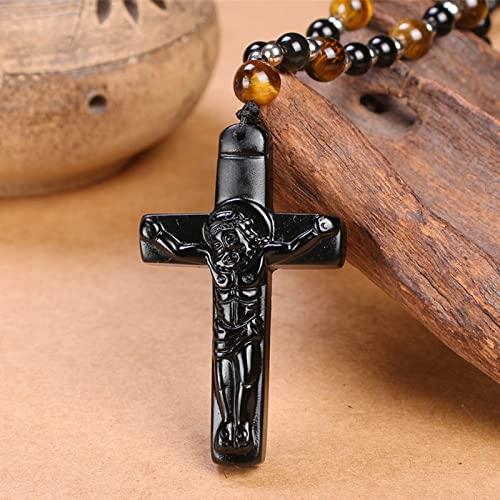 HYYSYQ ReligióN Obsidiana Cruz Colgante Collar para Hombres Mujeres VíSpera De Todos Los Santos Hecho A Mano Cristo Reza Bendito Amuleto Joyas Regalo