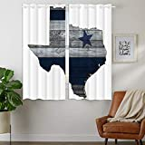 HommomH 42 x 63 inch Curtains (2 Panel) Grommet Top Darkening Blackout Room Dallas Blue Silver Cowboy Star