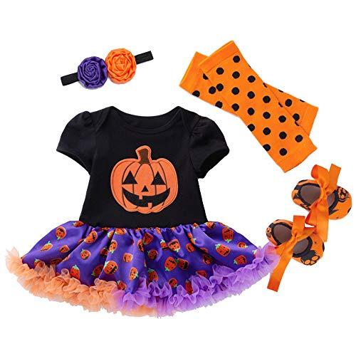 (ホーマイ)HOOMAI ハロウィン コスプレ衣装 子供服 女の子 ワンピース チュチュスカート ベビー 仮装 赤ちゃん コスチューム ロンパース 半袖 切替 4点セット セットアップ ストライプ 80 黒+紫/かぼちゃ