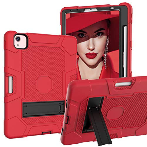A-BEAUTY Case for iPad Air 4, iPad Pro 11, with [Screen Protector] [Pen Holder] [Shockproof] [Kickstand], Red/Black