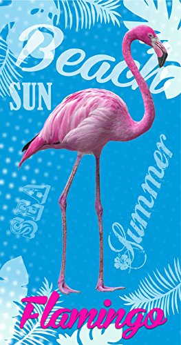 TEXTIL TARRAGO Toalla de playa estampada flamenco rosa 90x170 cm 100% algodón
