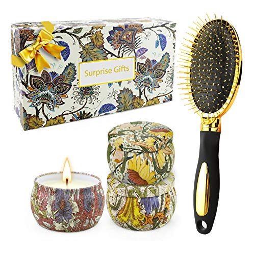 Happy Birthday Gifts for Women Hair Brush and Aromatherapy Candles Scented Gift Baskets, Stress Relief Anniversary Gifts for Her Relaxation Gifts Spa Bath Yoga Shower, 3x4.4 Oz