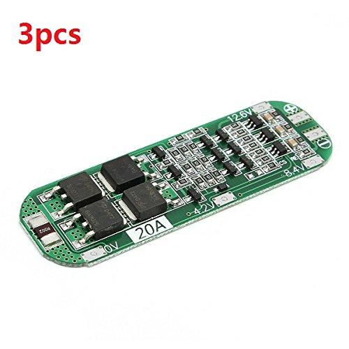 Tutoy 3Pcs 3S 20A Li-Ion Litio Batería 18650 Cargador PCB BMS Protección Tablero 12,6 Célula V