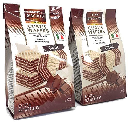 Feiny Buiscuits Cubus Wafers 2er Pack ( 2x 125g ) Waffeln mit Kakaocremefüllung