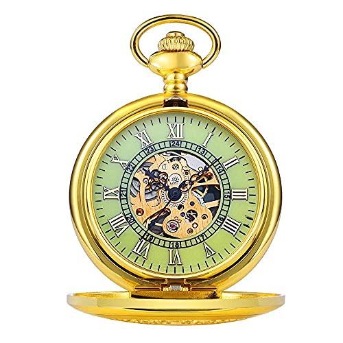 JIANGCJ Moda de Alta Gama El Reloj de Bolsillo enviará el Reloj de Bolsillo Luminoso Reloj de Bolsillo para Hombres, Regalo, Gimnasio, Reloj de Bolsillo mecánico de Oro, Adecuado para la ocasión