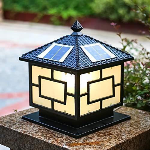Luz de poste de jardín al aire libre, luz de pilar solar de vidrio de metal de aluminio antiguo Lámpara de columna LED impermeable Lámparas exteriores Decoración de villa Linterna de camino retro Ilu