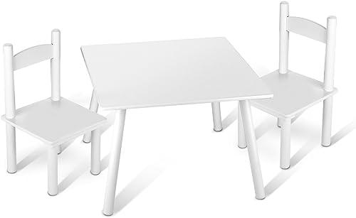 de moda Leomark Leomark Leomark Mesa con 2 sillas Todo en Madera, blancos Mesas y sillas Infantiles de Madera, Juego de Muebles Infantiles, para Cuarto de los Niños  opciones a bajo precio
