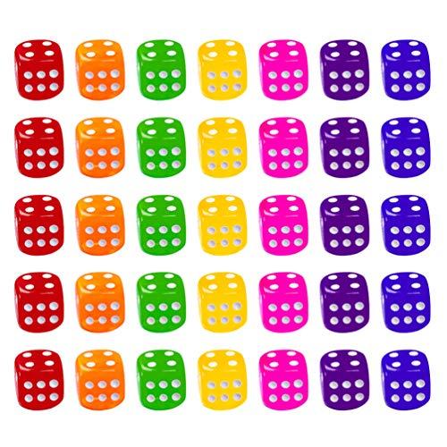 TOYANDONA Juego de 50 Dados de Seis Caras Dado de Dados Translúcido Redondeado Estándar - Color Aleatorio