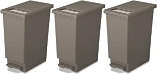 新輝合成 フタ付きゴミ箱 ユニード ゴミ箱 ペダル プッシュ ペール ブラウン 3個セット 45L