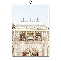 キャンバス塗装 ぶら下げ画 モロッコドアタージマハルウォールアートオイルは北欧ポスタープリントクラシックな建物の壁の写真のためにリビングルームのホームインテリア絵画 (Color : C, Size (Inch) : 60X80 cm)