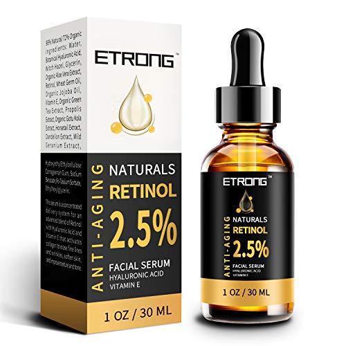 Retinol Serum, ETRONG hochfestes Anti-Aging Serum mit 2,5% Retinol, Hyaluronsäure und Vitamin E für Gesichts-Akne (30ml)