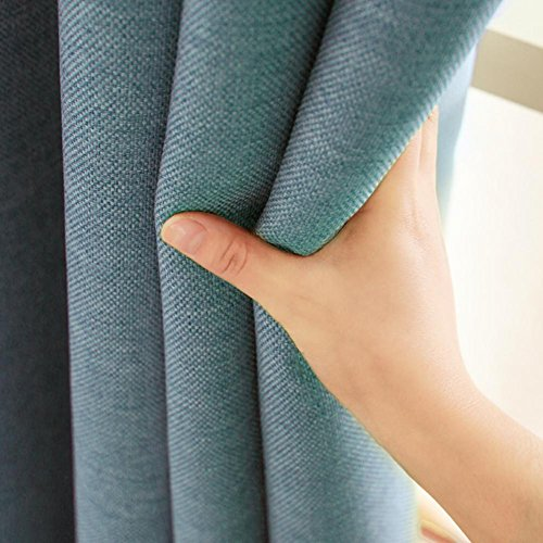 Tende oscuranti tenda tinta unita prodotto finito in cotone e lino soggiorno camera ispessimento lino panno su misura per finestre pavimento al soffitto One panel, Blue, 1pc(150*270 cm?