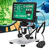 Niiyen Microscopio electrónico Digital, Microscopio Digital LCD con Aumento de 1200X, Microscopio de Video 1080P con Soporte Ajustable, Compatible con WindowsXP 7 10 / Mac OS