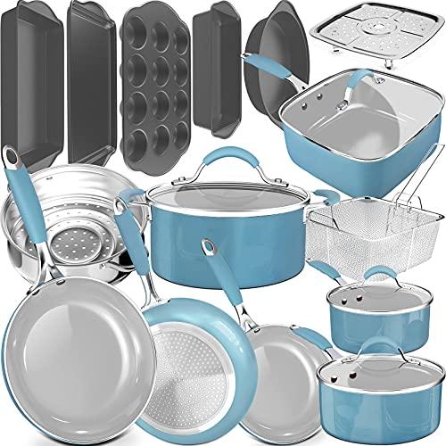 dealz frenzy 20 Piece Pots and Pans Complete Kitchen Cookware + Bakeware Set, Nonstick Ceramic Coating, Frying Pans, Skillets, Stock Pots, Sauce Pan,...