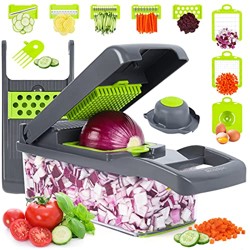 Vegetable Chopper, Onion Chopper, Mandolin Slicer,Pro 10 in 1professional food Choppermultifunctional Vegetable Chopper and Slicer, Dicing Machine, AdjustableVegetable Cutter With Container(grey)
