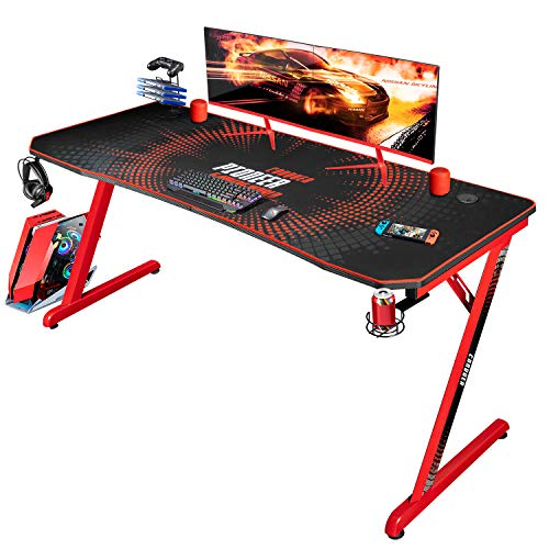 Jummico Gaming Desk 55 inch Computer Desk Z Shaped PC Racing Style Table with Carben Fiber Surface Full Coverage Mouse Pad Cup Holder Headphone Hook (Red)