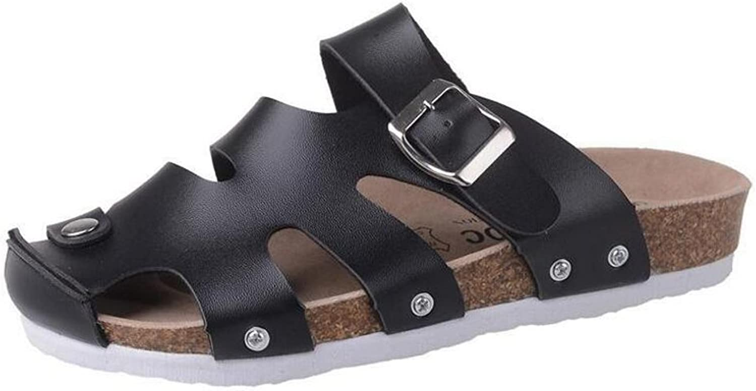 LZWSMGS PVC Couple shoes Men's and Women's Leather Slippers Ladies Summer Leather Flat shoes Women's Flat Sandals Slippers Summer Hollow Beach shoes Size 35-44cm Ladies Sandals