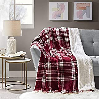 Comfort Spaces Sherpa to Plush Blanket Ultra Soft and Cozy Throws 50 x 60 for Couch, Bed, 50x60, Plaid Cranberry