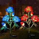 Tvird Solarleuchte Garten 4-Head 2 Packung Solar Garten Lampen Lilie Blumen Solarlicht mit Farbwechsel LED Lampen, Außen Dekoration Lichter für den Garten