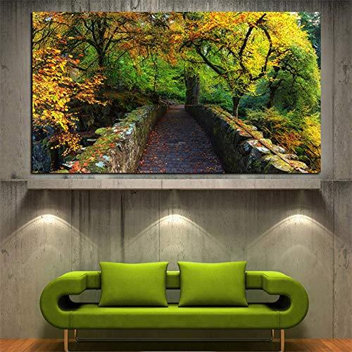 N / A Paesaggio Autunnale Naturale Paesaggio Pittura a Olio Moderna su Tela Immagine murale per Soggiorno Decorazione A 50x70cm