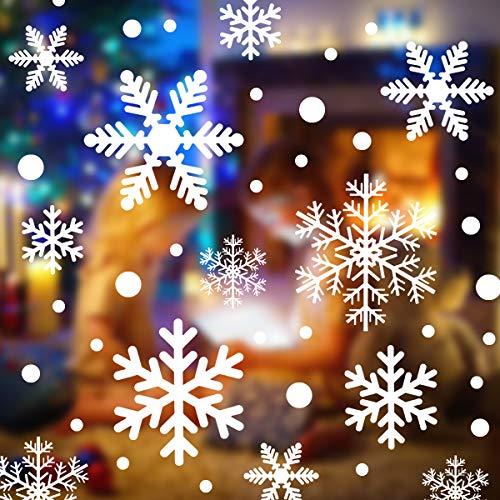 108 Pegatinas Navidad Decorativas de Copo de Nieve Decoracion Vinilos Navidad PVC Desmontable Vinilo para Navidad Reutilizable Pegatinas de Navidad para Ventanas/Escaparates Negocios/Hogar Interior