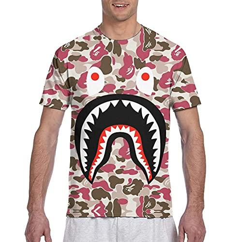Shark Ocean Bape Camo Art - Camiseta de manga corta de algodón elástica para hombre, Negro, 3XL