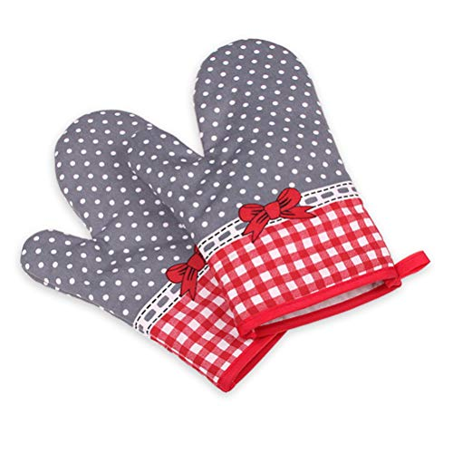 Ourine Isolierhandschuhe, 2Pcs Verdickt Mikrowelle Wärmeisolierung Anti-Rutsch-Anti-Hot-Handschuhe Farbe Sortiert 03