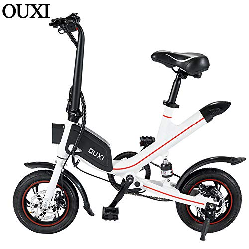 OUXI Electric Bikes for Adults,E Bike with 250W 7.8Ah 36v 12' Wheels Lightweight Folding Bike for Men Sporting Fitness Outdoor