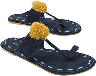 Chumbak Pom Pom Braided Polyurethane Blue Kolhapuris for Women - 38