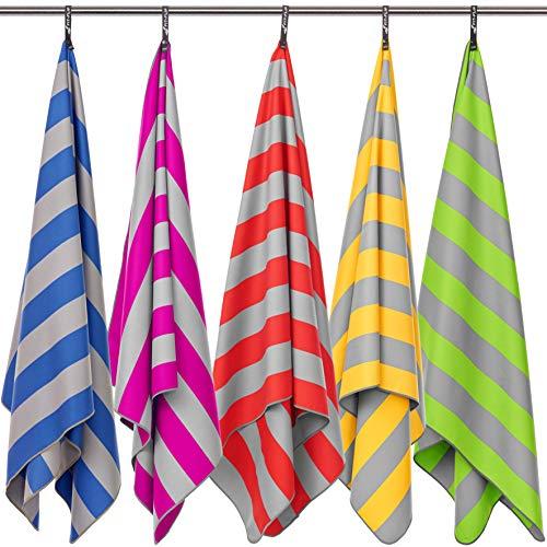 Fit-Flip Strandhandtuch XXL 200x90cm / Gelb - Grau gestreift- große badetücher, Strandtuch sandfrei, bade handtücher groß, bade Handtuch Gross