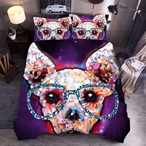 Down duvet cool dog 3D bedding quilt cover pillowcase single double bed
