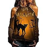 Chemisier Femme Epaule Dénudé Sweat Shirt à Manches Longues Chemisier Décontracté à épaules Dénudées Pour Halloween Costume Deguisement Halloween Femme Tee Shirt Manche Longue Sweatshirt Femme