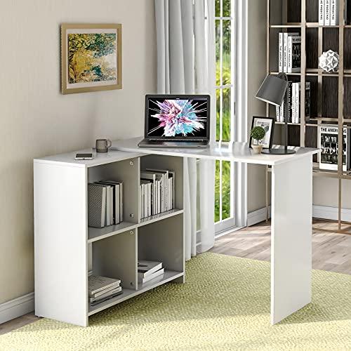 HAZYJT Mesa de Ordenador Escritorio Mesa de Oficina, Mesa de PC en Forma de L con 4 Espacios de Almacenamiento, Escritorio de Esquina de Tablero de partículas, Blanco 70 x 41 x 73 cm
