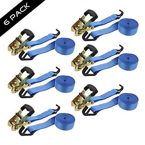 ABN Ratchet Anchor Cargo Tie Down Straps, 1.5in x 15ft, 2-Ton Capacity – Heavy Duty J-Hook Ratcheting Kit 6-Pack