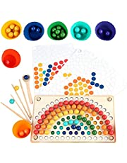 lineEUbea Tęczowe klipsy koraliki, aby wyeliminować muzykę dla dzieci, praktyka dziecka za pomocą pałeczek, koordynacja ręka-oko, puzzle zabawka do oświecenia pulpitu (kolor pudełko)