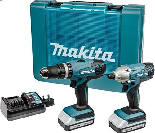 Makita Kombibohrer und Schlagbohrmaschine, Lithium-Ionen-Akku, kabellos, 18V, 2er-Pack, inkl. Ladegerät, Ladedauer nur 1 Stunde