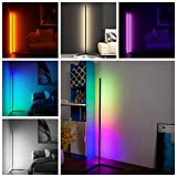 Corner Floor Lamp Led Nordic 20W RGB Color Changing Standing Floor Lamps for Living Room Night Light Dimming Standing Modern Lamp Bedroom Decor Remote Control (Include White) (Black)