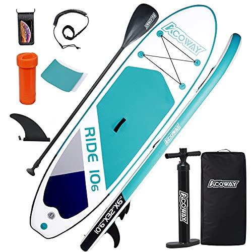 ACOWAY Tabla de surf de remo hinchable de 320 x 81,5 x 15 cm con 180 kg, antideslizante, tabla de surf, accesorios estables, bomba de alta presión, mochila