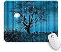 NIESIKKLAマウスパッド 星月夜の木美しい風景画像青い自然風景 ゲーミング オフィス最適 おしゃれ 防水 耐久性が良い 滑り止めゴム底 ゲーミングなど適用 用ノートブックコンピュータマウスマット