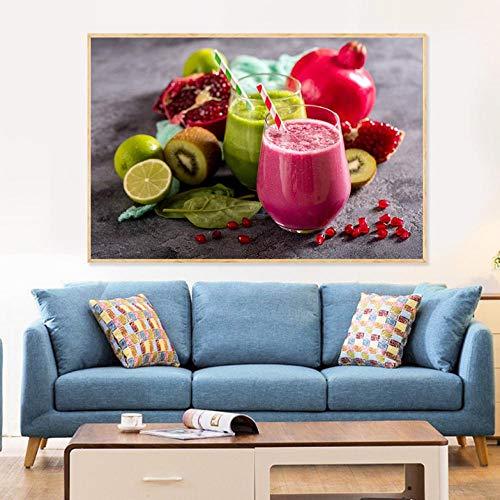 Lcgbw Fruitsap, levensmiddelen, schilderijs, dranken, citroenen, posters en drukken, citroenkeuken, decoratie, moderne muurkunst afbeelding 60x120cm zeildoek.