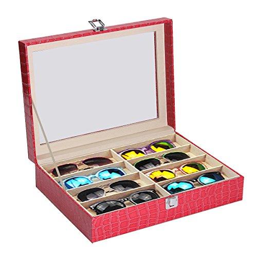 Bureze 8 Rejillas de Piel Rosa Pantalla Gafas Gafas de Sol Marco de Cristal Superior joyería Caja de Almacenamiento