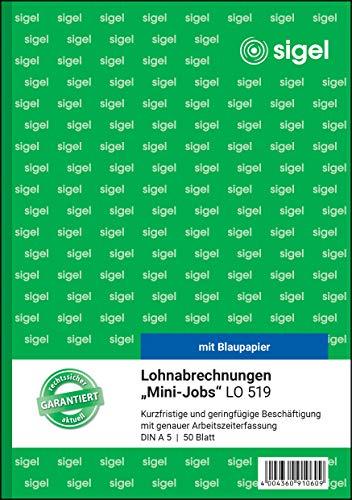 SIGEL LO519 Lohnabrechnungen für Mini-Jobs, A5, 50 Blatt, mit Blaupapier