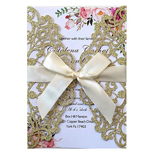 JOFANZA Tarjetas de invitaciones de boda cortadas con láser con 20x Encaje Floral Imprimible en blanco y sobres para despedida de soltera Quinceañera Baby Shower (Glitter Gold)