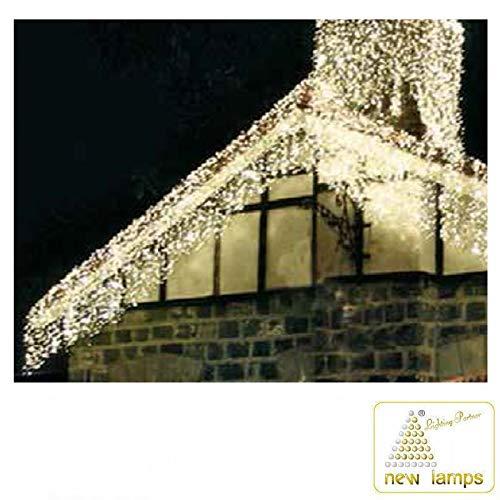 New Lamps Tenda Luminosa Natale 288 LED 3.90 metri 230V IN 24V OUT 20W Luce Fredda Effetto Cascata con Controller
