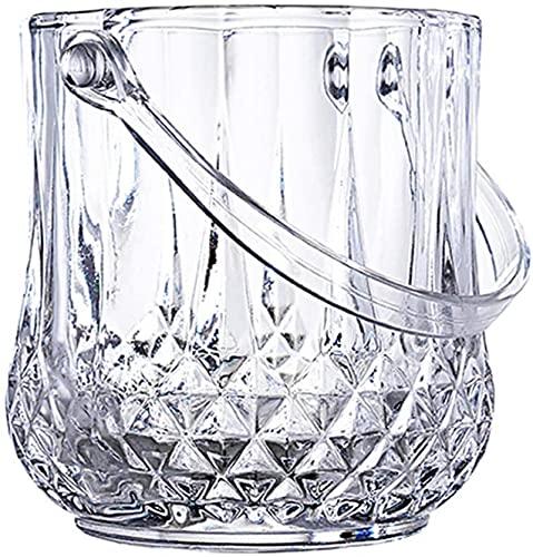 Cubo de hielo para la barra de hielo Cubo de hielo de cristal elegante con asas, cubo de enfriador de vino, cubo de vidrio, caja fuerte y perfecto