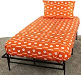 College Covers Clemson Tigers Printed Sheet Set, Twin X-Large, White