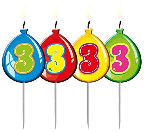 Folat 4 Zahlenkerzen * Zahl 3 * ┃ Ballon Design ┃ 3. Geburtstag ┃ Kindergebu